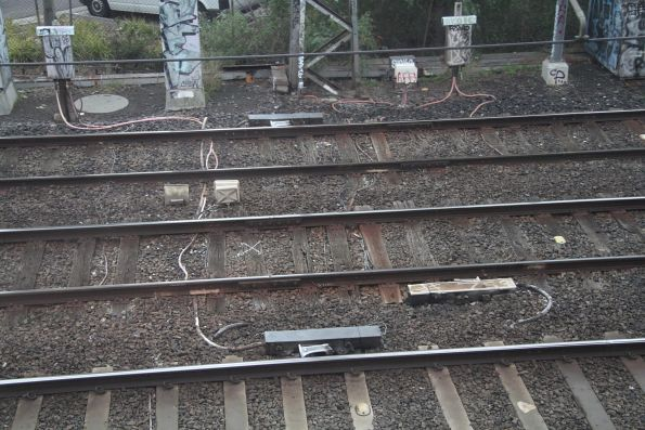 Timber sleepers marked for replacement at South Kensington