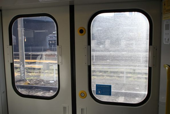 The new anti-vandal film on the Siemens train windows is cheap rubbish, and already crazing without any help from the vandals