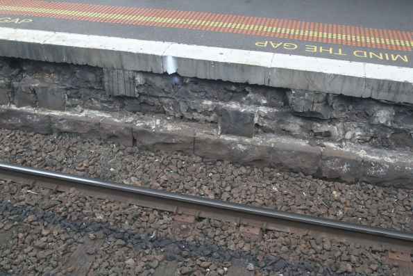 Bluestone platform face crumbling away at North Melbourne station