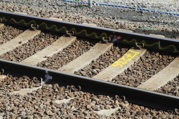 Flawed rail marked for replacement at South Kensington