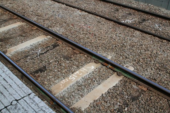 Defective timber sleepers marked for replacement at Eaglemont station