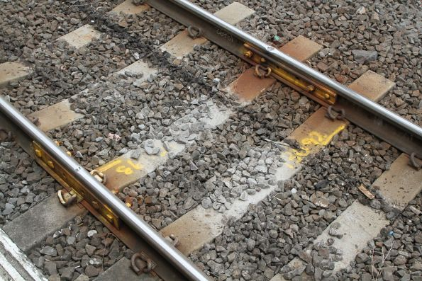 Pair of flawed rail joints fitted with temporary fish plates at Tottenham