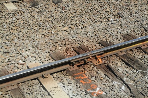 Flawed rail joint marked for replacement outside Flinders Street Station