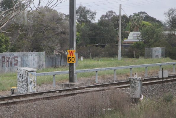 'W' sign indicates an upcoming 60 km/h speed restriction at Werribee