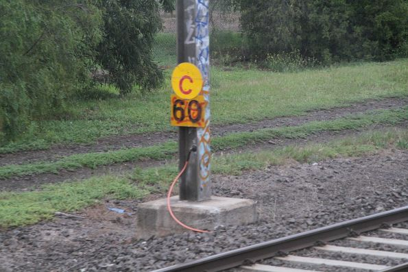 'C' sign indicates an upcoming 60 km/h speed restriction at Werribee