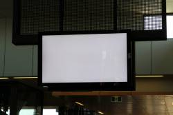 LCD PIDS at Sunshine station on the fritz, stuck on a white screen
