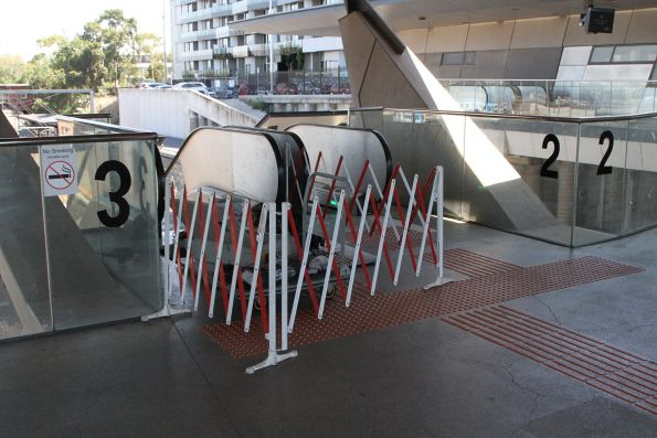 Escalator under repair at North Melbourne station