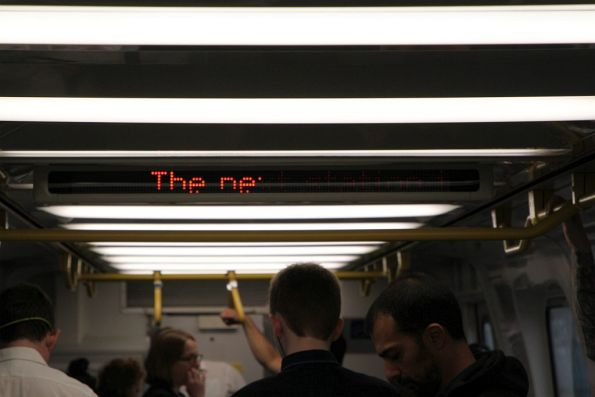'The ne' is all that is displayed, due to half of the LEDs aboard this EDI Comeng train being broken