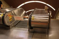Escalator out of service in morning peak at Flagstaff station