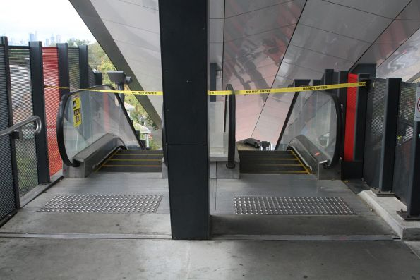 Both escalators at the east side of the Footscray station footbridge out of service