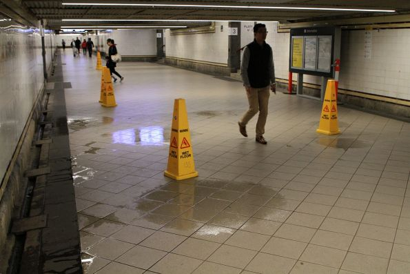 Water still leaks in the centre subway ar Flinders Street Station
