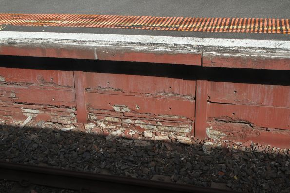 Crumbling concrete platform face at Mont Albert platform 1