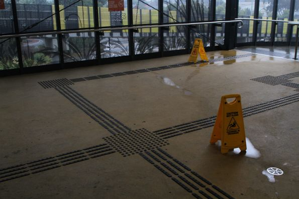 Puddles all over the concourse at Sunshine station