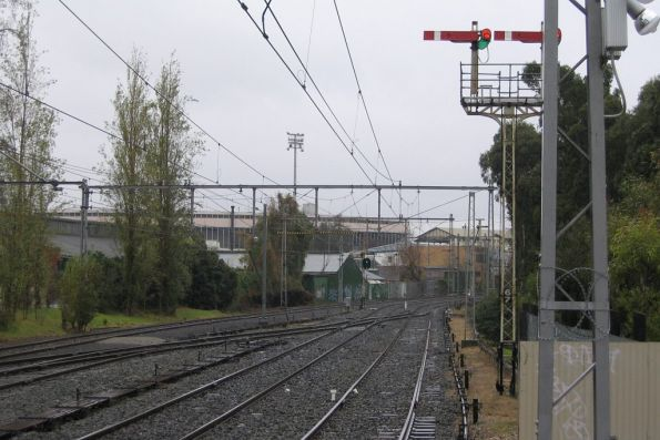 Signals at the Up end of Flemington Racecourse
