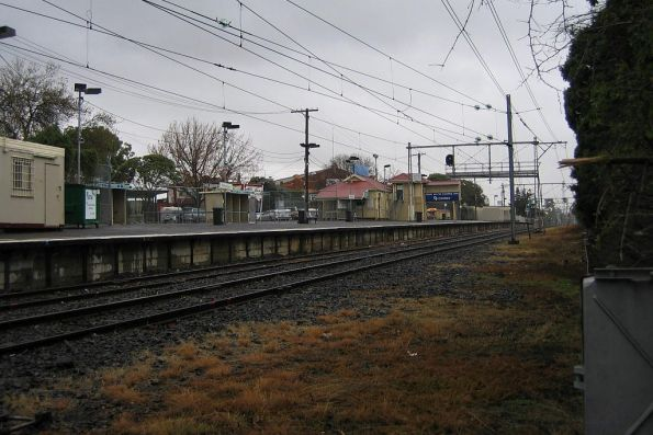 Looking up the line at Showgrounds station on the Flemington Racecourse line
