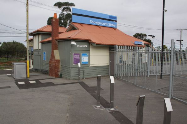 Station building at Showgrounds station, one of three banks of Myki FPDs in place