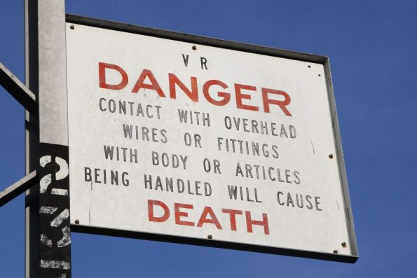 VR 'DANGER' sign at Showgrounds station