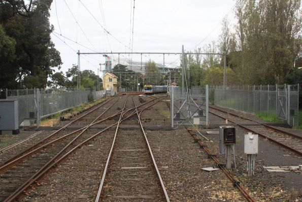 Gates at the east end of the Flemington Racecourse train stabling compound