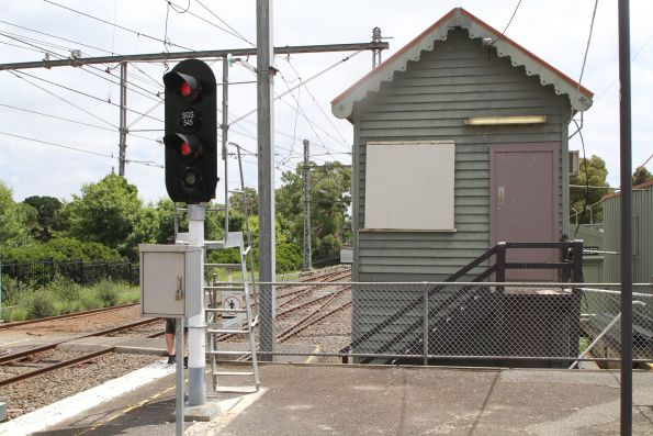Signal SGS545 at the down end of Showgrounds station