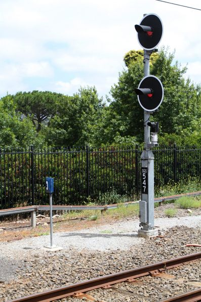 Signal SGS547 at the down end of Showgrounds station