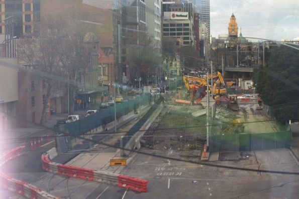 Digging up the last bits of the King Street overpass on Flinders Street