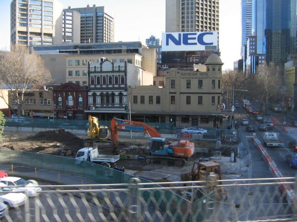 Removing rubble of the former Flinders Street Overpass