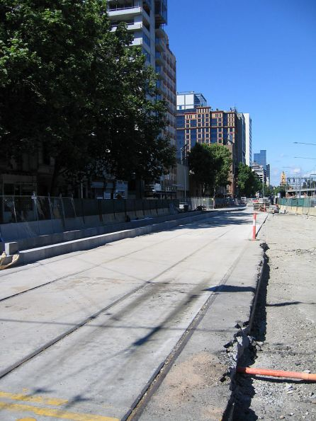 Rebuilding tracks on Flinders Street at the Spencer Street intersection