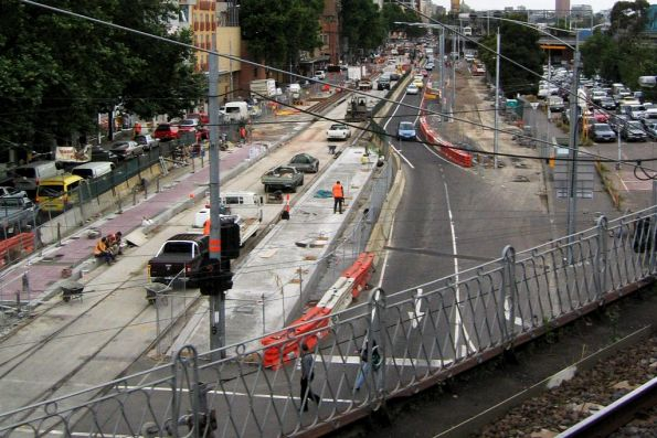 Relaying track on Flinders Street at Spencer Street, part of the King Street Overpass removal