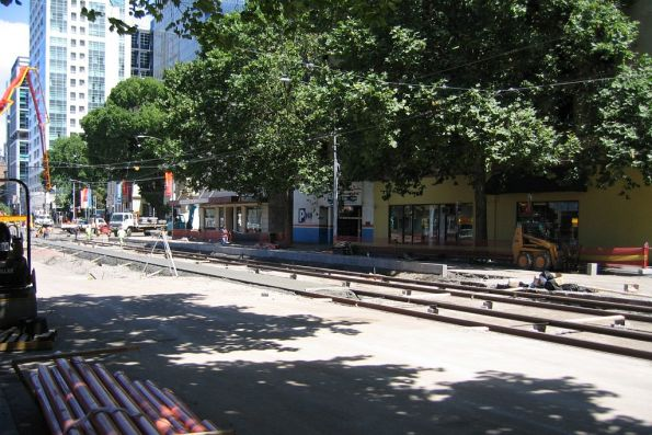 Tram line rebuilding at Flinders Street and Market Street, part of the King Street Overpass removal
