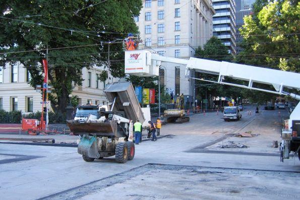 Tram line rebuilding at Flinders Street and Market Street