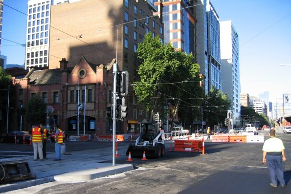 Tram line rebuilding at Flinders Street and King Street