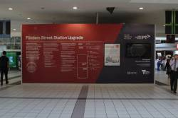 Flinders Street Station Upgrade display on the main station concourse