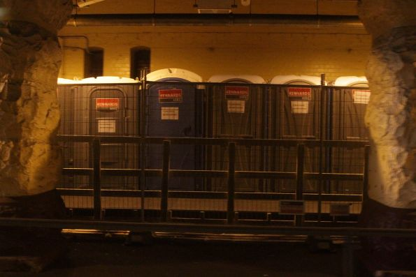 Portable toilets at Flinders Street Station platform 14, while the main concourse toilets are closed for refurbishment
