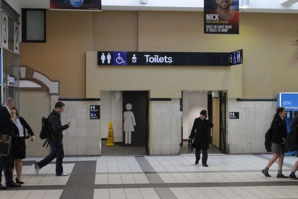 Refurbished toilets on the main concourse at Flinders Street Station