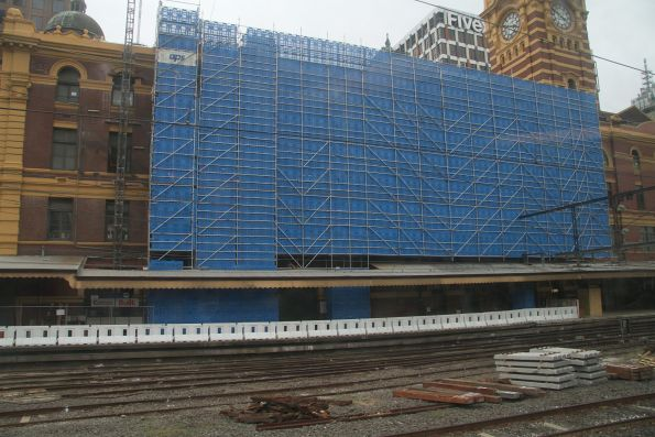 Scaffolding in place on the southern wall of Flinders Street Station
