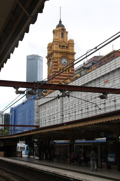 Scaffolding in place on the southern wall at Flinders Street Station
