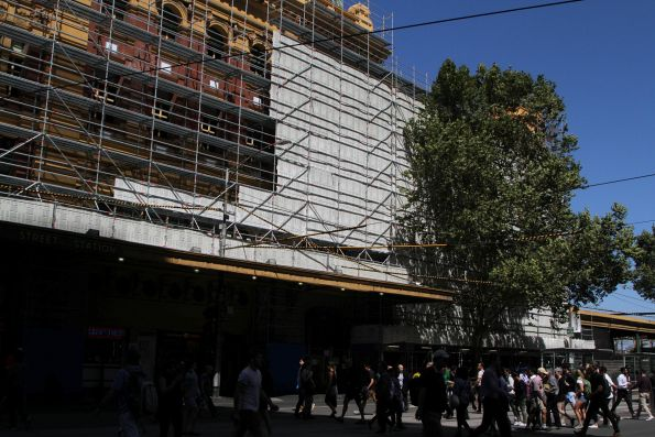 Scaffolding starts to rise on the north-western face of Flinders Street Station