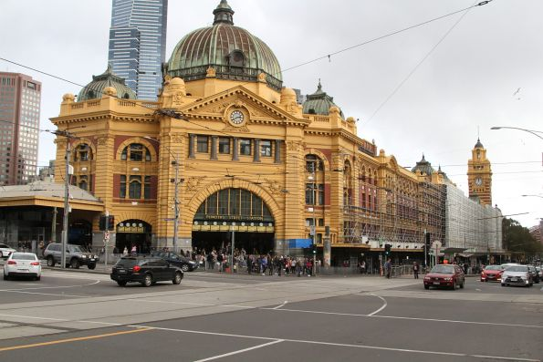 Scaffolding covers the northern facade of Flinders Street Station