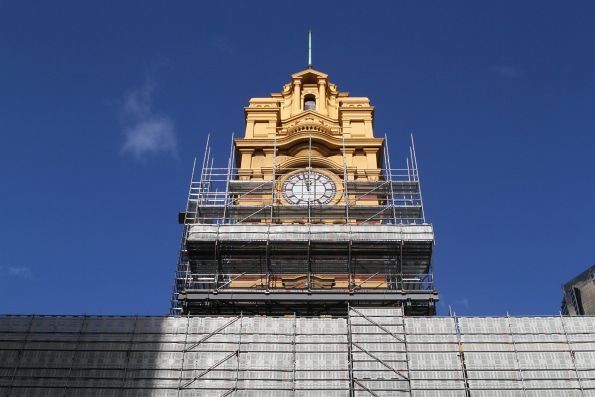 Scaffolding covers the Flinders Street Station clock tower