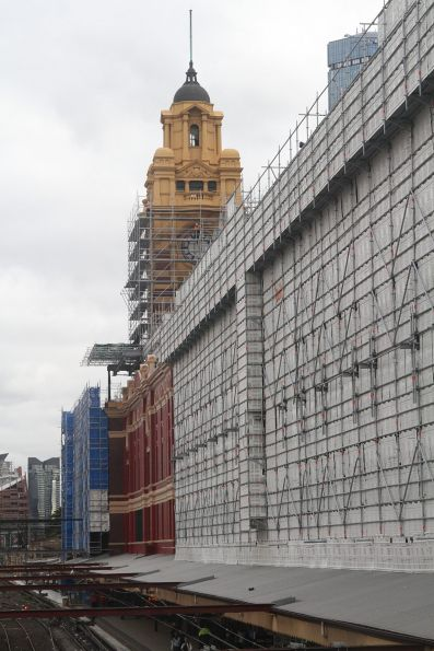 Scaffolding on the southern wall of Flinders Street Station
