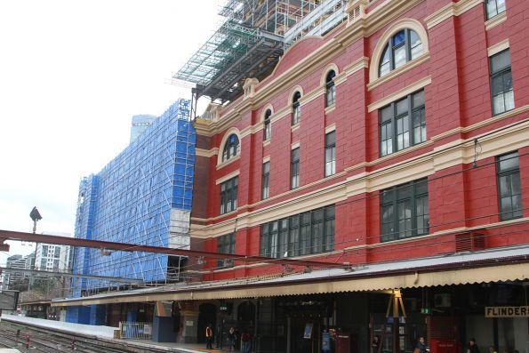 Repainted southern wall of Flinders Street Station