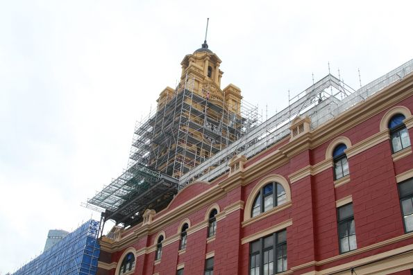 Scaffolding covering the clocktower at Flinders Street Station