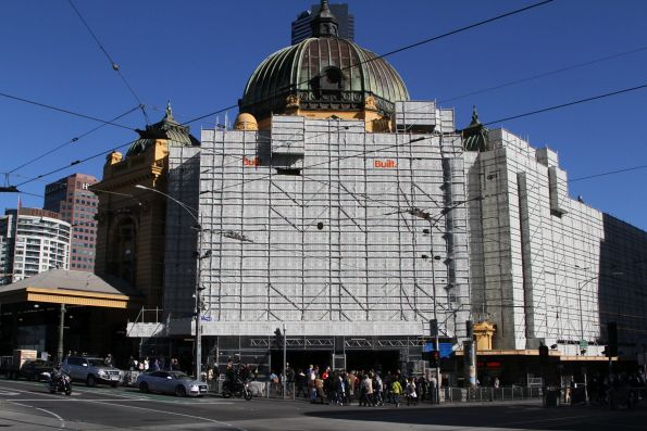 Scaffolding covers the main entrance of Flinders Street Station