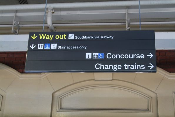 New PTV font used for directional signage at Flinders Street Station