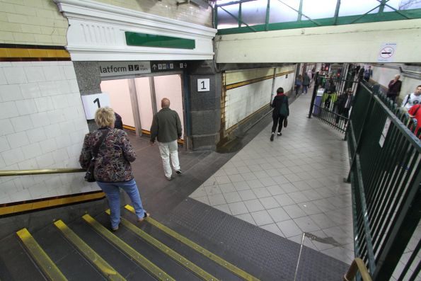 Former men's toilet in the Elizabeth Street subway now provides access to platform 1