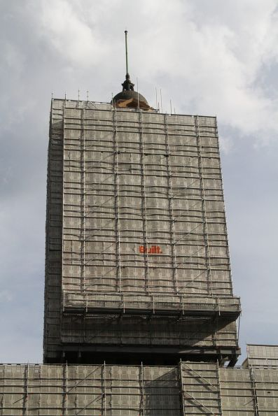 Scaffolding covers the clock tower at the end of Elizabeth Street