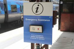 Relocated emergency assistance button at Flinders Street