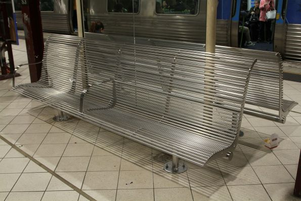 New benches added on the platforms at Flinders Street Station