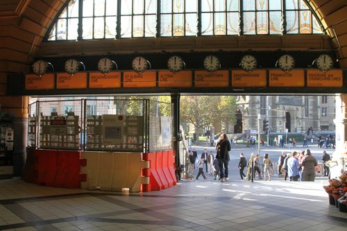 Repair work on the steps at Flinders Street Station