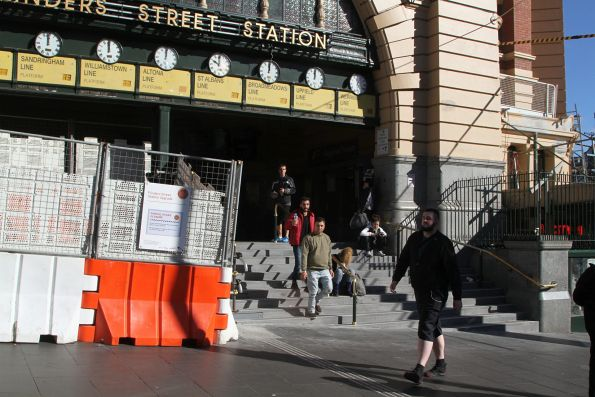 One half of the repair work to the Flinders Street Station steps complete